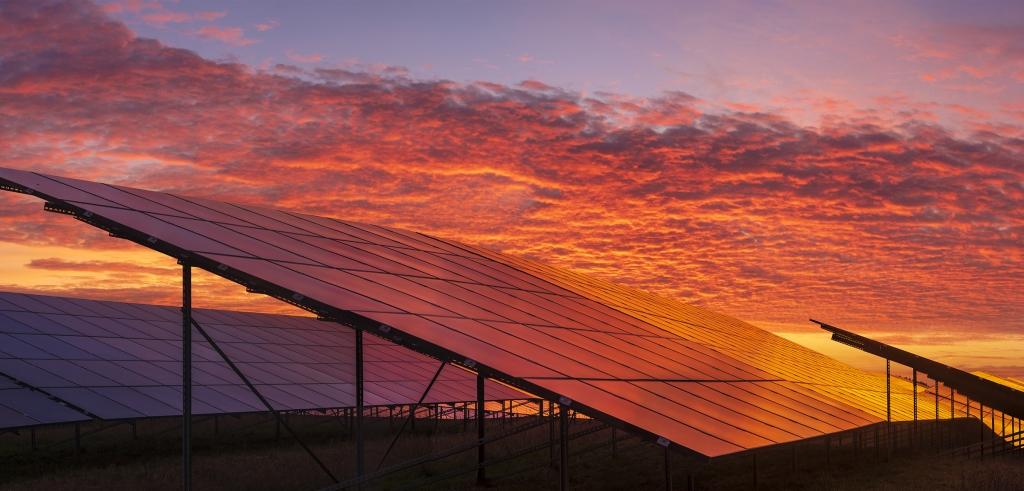 Solnedgång solceller